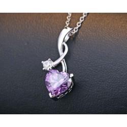 ezüst nyaklánc Lila köves szív medál ezüstből