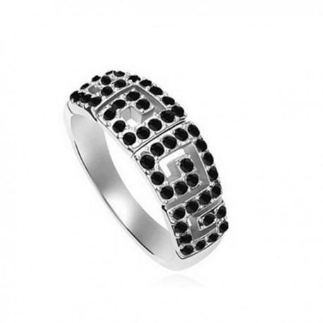 kristályos gyűrű Görög mintával díszített, apró köves gyűrű
