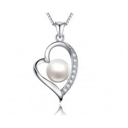 Gyöngyös ezüst szív medál cirkóniával