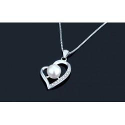 ezüst nyaklánc Gyöngyös ezüst szív medál cirkóniával