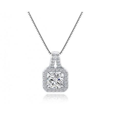 ezüst nyaklánc Négyzetes ezüst medál kerek cirkóniával