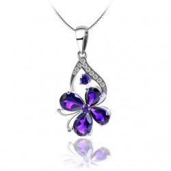 Lila kristályos ezüst pillangó medál