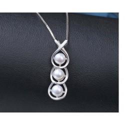 ezüst nyaklánc 3 gyöngyös, elegáns ezüst medál