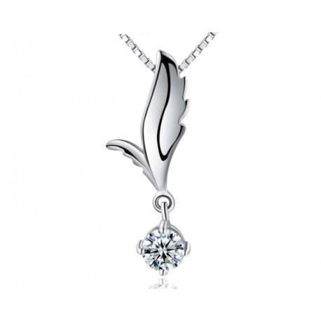 ezüst nyaklánc Elegáns ezüst medál fehér kristállyal
