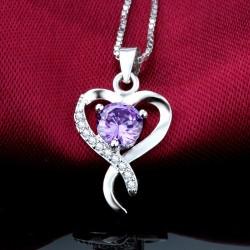 ezüst nyaklánc Lila kristályos ezüst szív medál