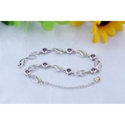 ezüst karkötő Egyedi ezüst karkötő kerek, lila cirkónia kövekkel