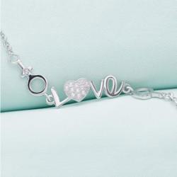 ezüst karkötő Szíves ezüst karkötő love felirattal cirkóniával