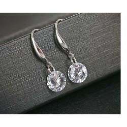 esküvői fülbevaló Beakasztós ezüst fülbevaló fehér cirkónia