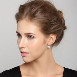 ezüst fülbevaló Napkorong ezüst fülbevaló kristályokkal