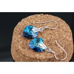 ezüst fülbevaló Swarovski kristályos ezüst szív fülbevaló