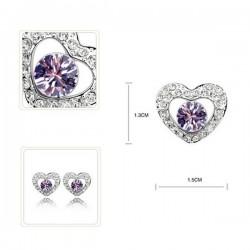 kristályos ékszerszett Lila gyémántszív ékszerszett