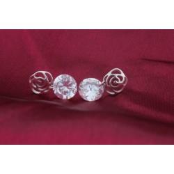 esküvői fülbevaló Rózsa mintás ezüst fülbevaló kerek cirkónia
