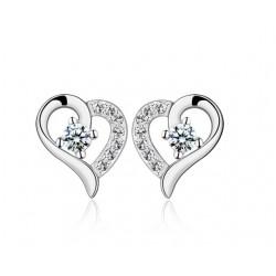 ezüst fülbevaló Ezüst szív fülbevaló fehér cirkóniával