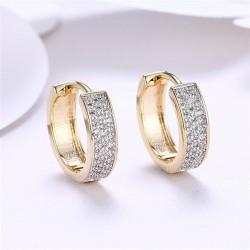 kristályos fülbevaló Cirkónia kristályos, arany bevonatú karika
