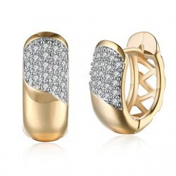 Apró kristályos, arany bevonatú karika fülbevaló