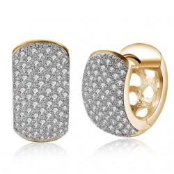 Karika fülbevaló apró kristályokkal, arany bevonattal