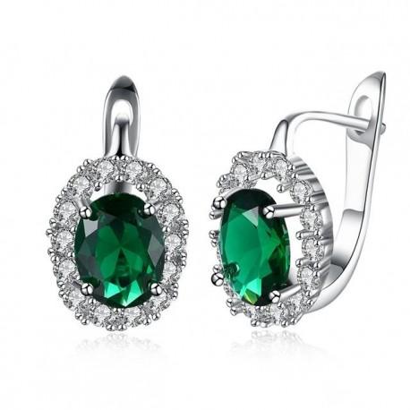 kristályos fülbevaló Smaragdzöld kristályos, francia kapcsos