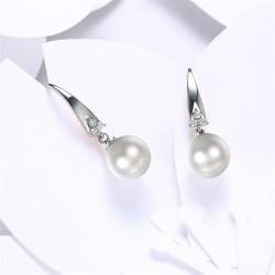esküvői fülbevaló Elegáns gyöngy fülbevaló, cirkóniával