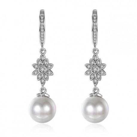 esküvői fülbevaló Jégvirág gyöngy fülbevaló kristályokkal