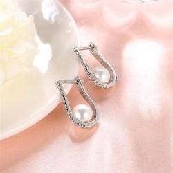 esküvői fülbevaló Ródiumozott, elegáns gyöngy fülbevaló