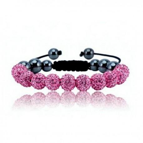 kristályos karkötő Rózsaszín kristályos shamballa karkötő