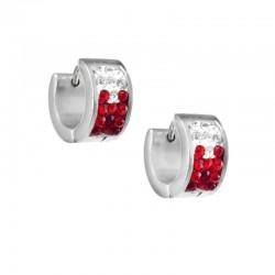 nemesacél fülbevaló Piros kristályos, színátmenetes nemesacél