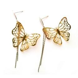 nemesacél fülbevaló Arany pillangók nemesacél fülbevaló