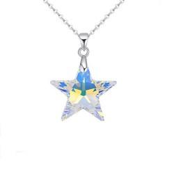 Swarovski kristályos csillag medál nemesacél lánccal - szivárvány