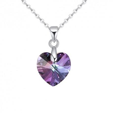 kristályos nyaklánc Swarovski kristályos szív medál nemesacél