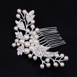 esküvői hajdísz Gyöngyös-kristályos menyasszonyi hajfésű
