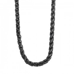 Nemesacél fonott nyaklánc, IP fekete bevonattal (70 cm x 3 mm)