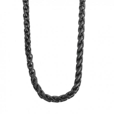 69c5a32695 Nemesacél fonott nyaklánc, IP fekete bevonattal (70 cm x 3 mm ...