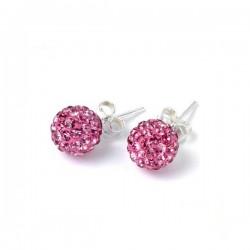 bizsu fülbevaló Rózsaszín kristályos shamballa fülbevaló