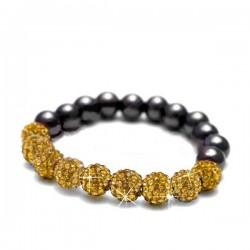Sztreccs shamballa karkötő arany kristályokkal