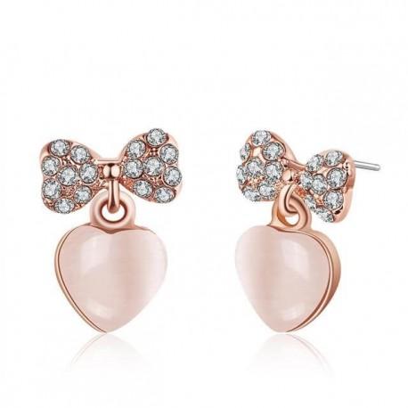 kristályos fülbevaló Rozé aranyozott szív fülbevaló masnival
