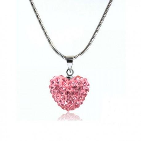 kristályos nyaklánc Rózsaszín kristályos szív shamballa nyaklánc