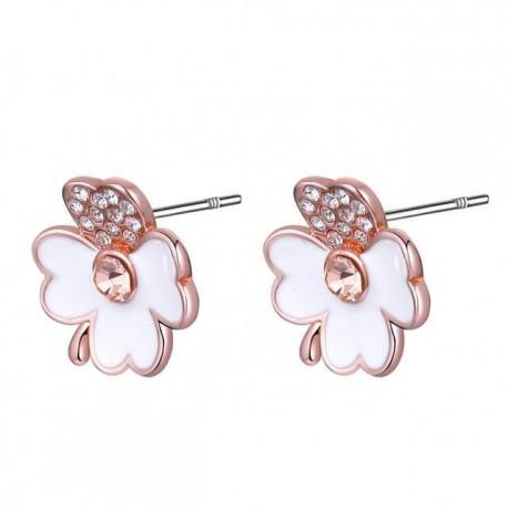 kristályos fülbevaló Rozé aranyozott négylevelű lóhere fülbevaló