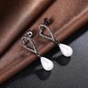 kristályos fülbevaló Fekete szív gyöngy fülbevaló