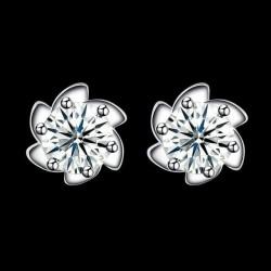 ezüst fülbevaló Lótuszvirág ezüst fülbevaló cirkóniával