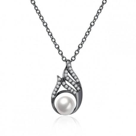 kristályos nyaklánc Fekete gyöngy, kristályos nyaklánc