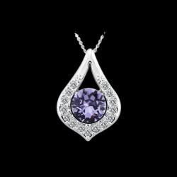 kristályos nyaklánc Csepp medál lila Swarovski kristállyal