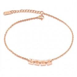 Titánium bokalánc LOVE felirattal - rozé arany
