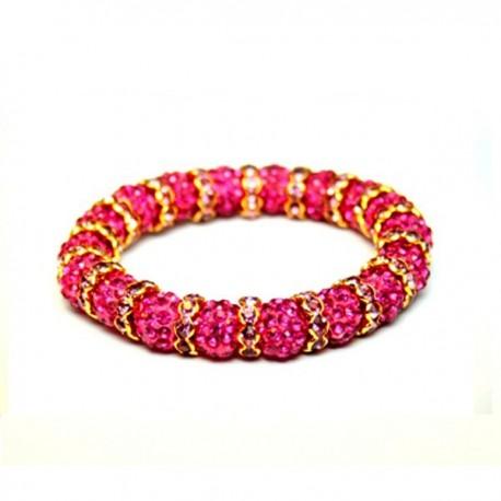 kristályos karkötő Rózsaszín kristályos, egyedi shamballa