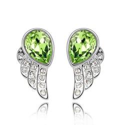 Zöld kristályos angyalszárny fülbevaló