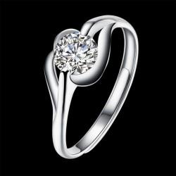 ezüst gyűrű Kristálylevél, állítható ezüst gyűrű cirkóniával