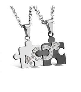 Összeilleszthető nemesacél puzzle medál szett pároknak