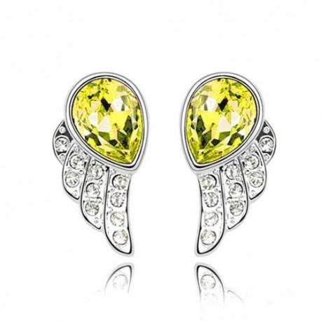 kristályos fülbevaló Sárga kristályos angyalszárny fülbevaló
