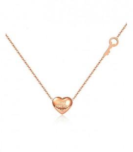 Titánium szív és kulcs medál nyakláncon - Rozé arany bevonattal