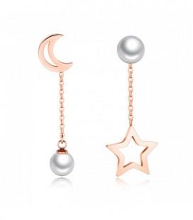 Felemás nemesacél fülbevaló - gyöngy, csillag és Hold