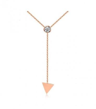 Elegáns titánium nyaklánc háromszög formával, rozé arany bevonattal